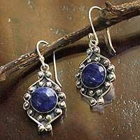 Sodalite flower earrings, 'Andean Rose' - Sodalite flower earrings