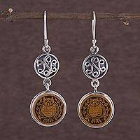 Sterling silver and mate gourd dangle earrings, 'Thoughtful Owl' - Good Fortune Mate Gourd Dangle Bird Earrings from Peru