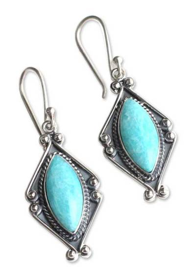 Amazonite and Silver Dangle Earrings