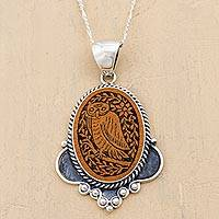 Sterling silver and mate gourd pendant necklace, 'Solemn Owl'