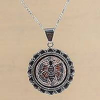 Sterling silver and mate gourd flower necklace, 'Sunflower Butterfly' (Peru)