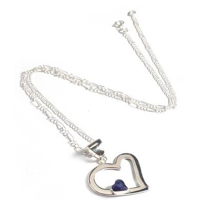 Heart Pendant Necklace Sodalite 925 Sterling Silver Jewelry