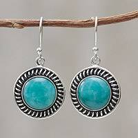 Amazonite dangle earrings, 'Andean Moon' - Hand Made Sterling Silver Dangle Amazonite Earrings