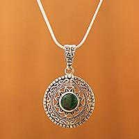 Chrysocolla pendant necklace, 'Sun God' - Fine Silver Green Chrysocolla Pendant Necklace