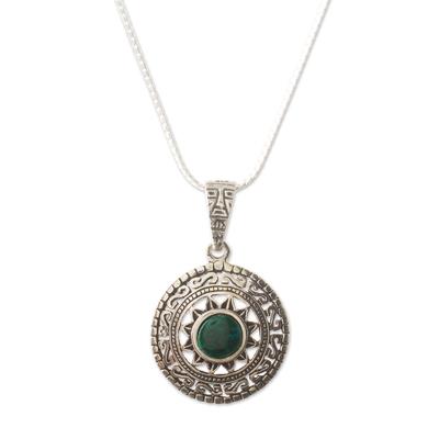 Fine Silver Green Chrysocolla Pendant Necklace