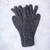 100% alpaca gloves, 'Lush Gray' - Alpaca Wool Gloves from Peru