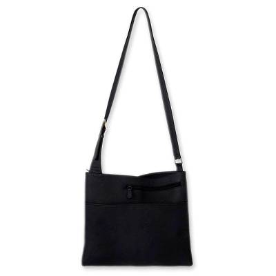 Leather handbag, 'Midnight' - Fair Trade Black Leather Sling Handbag