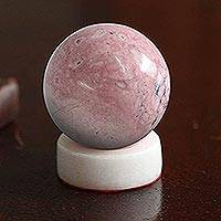 Rhodonite sphere, 'Venus' - Handcrafted Rhodonite Gemstone Sculpture
