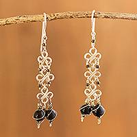 Onyx flower earrings, 'Lucky Clover' - Onyx flower earrings