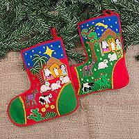 Applique Christmas stockings, 'Holy Night' (pair) - Folk Art Cotton Applique Christmas Stockings (Pair)