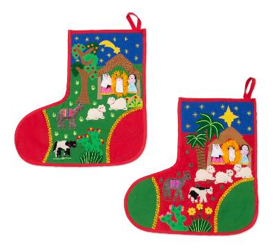 Folk Art Cotton Applique Christmas Stockings (Pair)