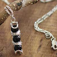 Onyx pendant necklace, 'Trio' - Onyx pendant necklace