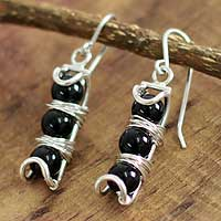 Onyx dangle earrings, 'Trio' - Onyx dangle earrings
