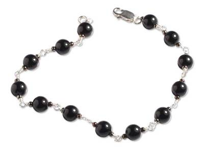 Handmade Fine Silver Beaded Onyx Bracelet