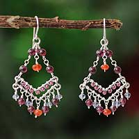 Garnet and iolite chandelier earrings, 'Fiesta' - Garnet and iolite chandelier earrings