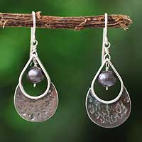 Pearl dangle earrings, 'Love Drop' - Pearl dangle earrings