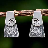 Silver drop earrings, 'Inca Vision' - Artisan Crafted Fine Silver Button Earrings