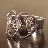 Silver heart ring, 'Our Path' - Fine Silver Heart Ring