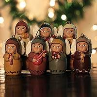 Ceramic ornaments, 'Angel Orchestra' (set of 7)
