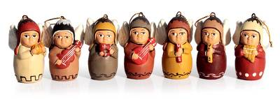 Christmas Holiday Ceramic Angel Ornaments (Set of 7)