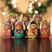 Ceramic ornaments, 'Angel Choir' (set of 7)