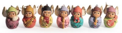 Ceramic ornaments, 'Angel Choir' (set of 7) - Unique Christmas Ceramic Ornaments (Set of 7)