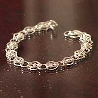 Silver chain bracelet, 'Moonlit Diamonds' - Silver chain bracelet