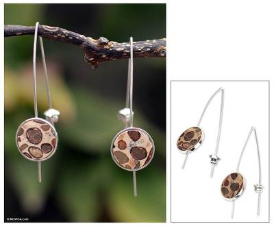 Leopardite drop earrings, Transformations