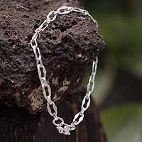 Silver chain bracelet, 'Luminous Muse'