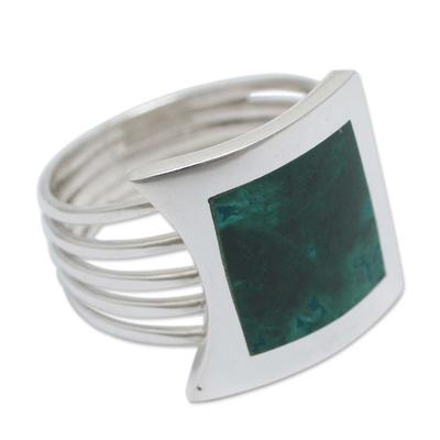 Peru Silver And Chrysocolla Ring