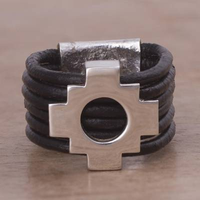 Men's leather band ring, 'Chakana Cross' - Men's leather band ring