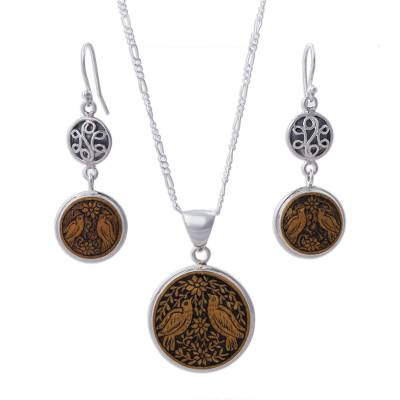 Mate Gourd Earrings and Necklace Jewelry Set