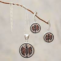 Mate gourd jewelry set, 'Butterfly' - Mate gourd jewelry set