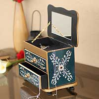 Painted glass jewelry box, 'Azure Splendor' - Reverse Painted Glass Jewelry Box with Mirror