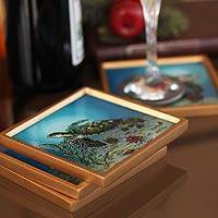 Painted glass coasters, 'Sea Turtles' (set of 4) - Painted glass coasters (Set of 4)