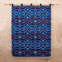 Wool tapestry, 'Blue Roosters'