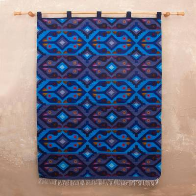 Wool tapestry, 'Blue Roosters' - Wool tapestry