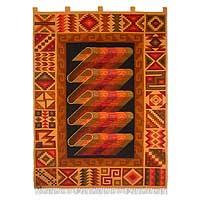 Wool tapestry, 'Inca Treasure' - Handcrafted Geometric Wool Tapestry