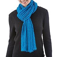 Alpaca blend scarf, 'Piura Blue' - Blue Peruvian Alpaca Wool Knit Scarf