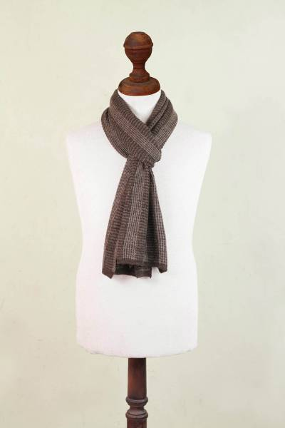 Alpaca blend men's scarf, 'Hot Chocolate' - Alpaca blend men's scarf