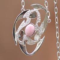 Rhodonite pendant necklace, 'Galaxy' - Rhodonite pendant necklace