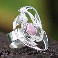 Rhodonite cocktail ring, 'Galaxy' - Peru Silver And Rhodonite Cocktail Ring