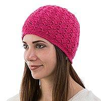 100% alpaca hat, 'Hot Cuzco Pink' - Womens Alpaca Wool Hat