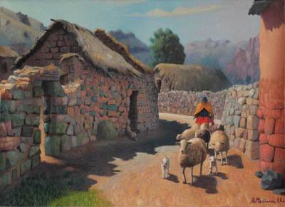 'Puica Village' - Realist Oil Painting