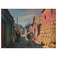 'Village Street' - Cityscape Oil Painting