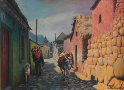 'Village Street' - Cityscape Oil Painting