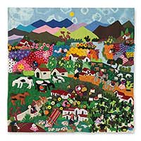 Cotton applique wall hanging, Andean Hillside - Handmade Applique Patchwork Wall Hanging Tapestry 39x39