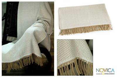 Throw, 'Andean Dawn' - Hand Made Alpaca Wool Patterned Blanket and Throw
