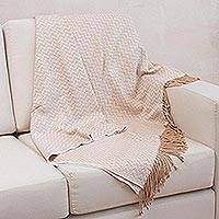 Throw, 'Sand Dunes' - Beige Alpaca Wool Patterned Throw Blanket