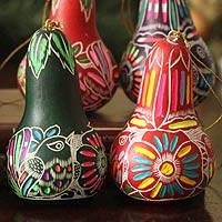 Mate gourd ornaments, 'Neon Party' (set of 6) - Peruvian Multicolour Handpainted Mate Gourd Ornaments